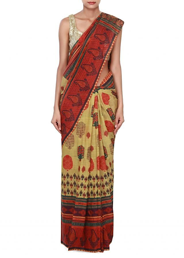 Multi color saree features with floral print only on Kalki