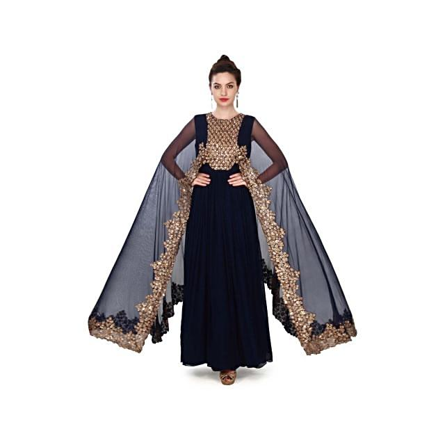 Navy blue suit adorn in sequin and attach cape only on Kalki