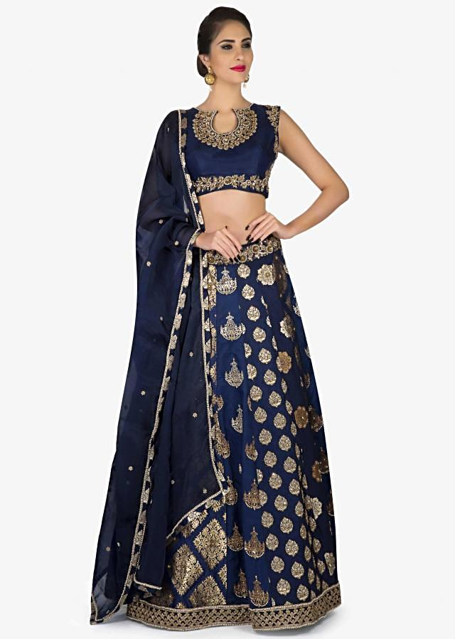 Navy Blue Brocade Lehenga With Embroidered Lace only on Kalki
