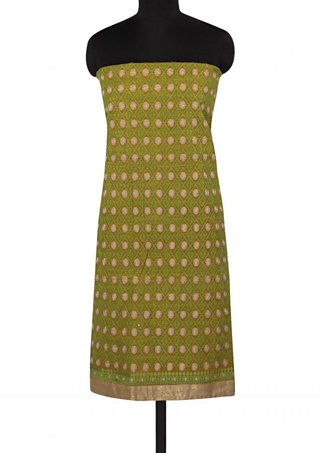 Olive green unstitched suit in resham work all over only on Kalki