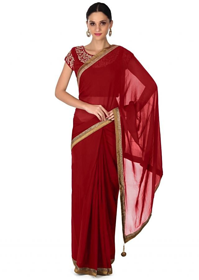 ‌Red saree with kardana embroidery only on Kalki