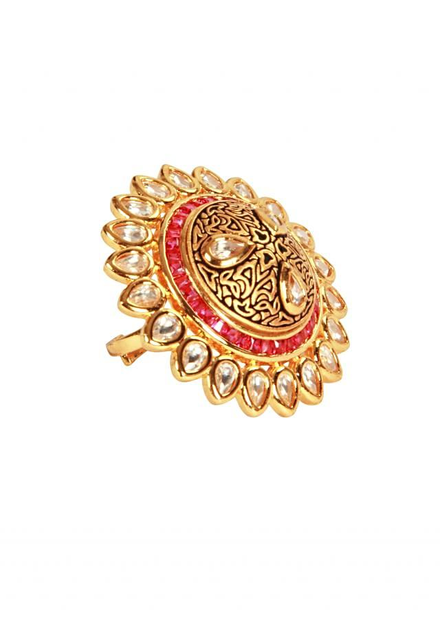 Textures ring in ruby stone and kundan by Ra Abta for Kalki