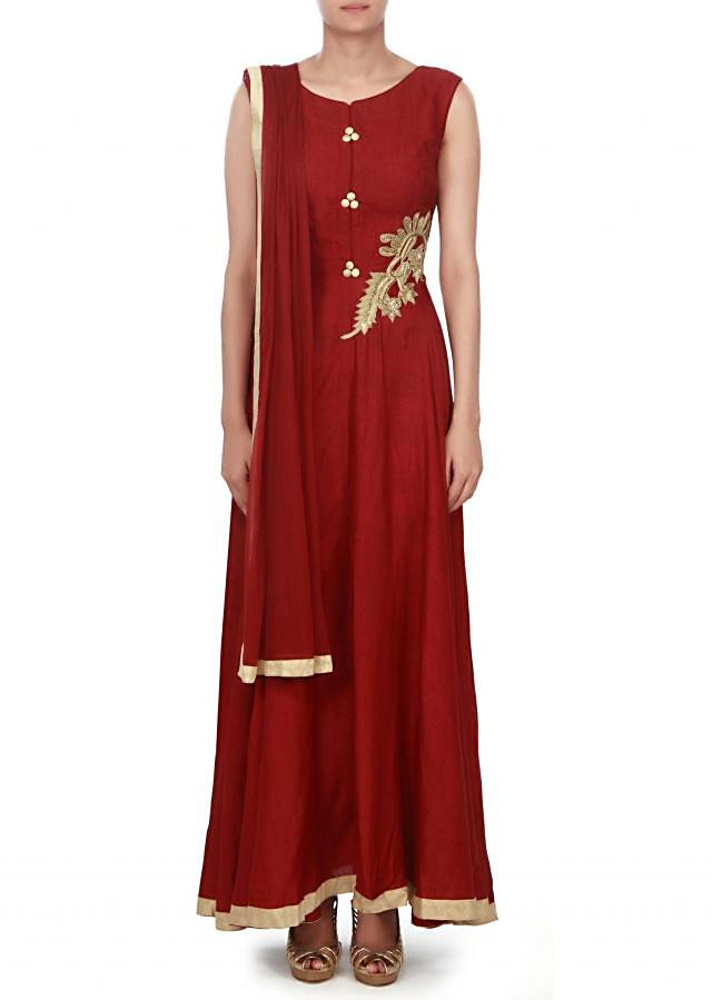 ‌Wine anarkali suit embellished in french knot work only on Kalki