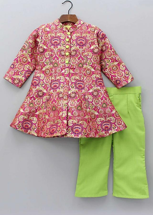 A Line Brocade Suit In Princes Line With Pista Green Straight Pants Online - Kalki Fashion