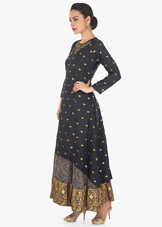 A line double layer suit in dark blue and grey with zardosi and foil print only on Kalki