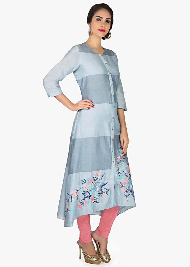 A line suit in shades of blue with resham and sequin embroidered hem only on Kalki