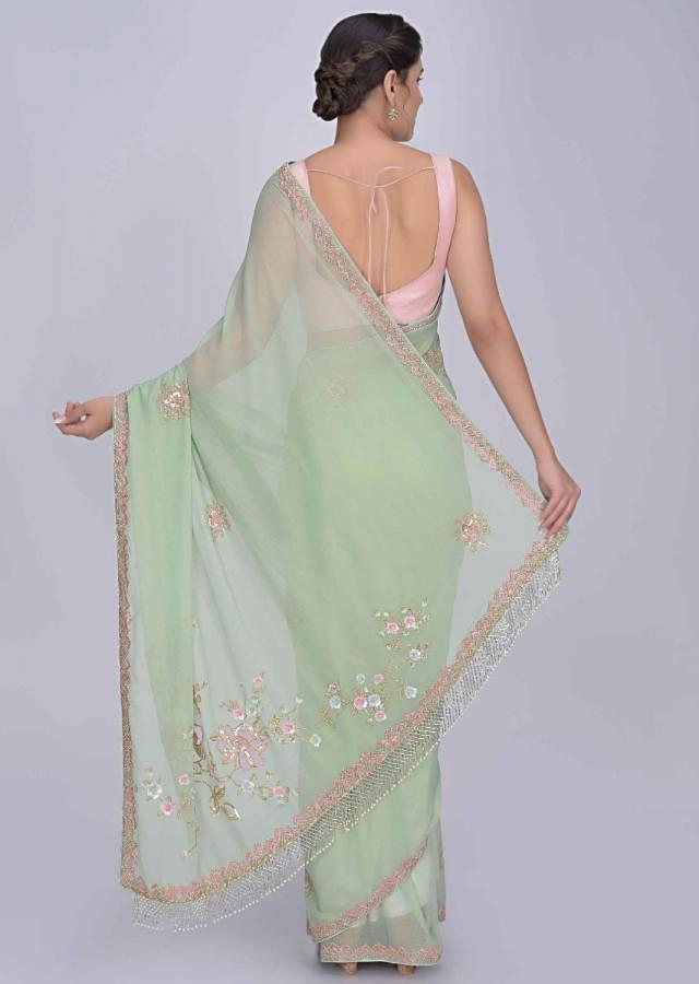 Acadia Green Saree In Shimmer Chiffon With Matching Blouse Piece Online - Kalki Fashion