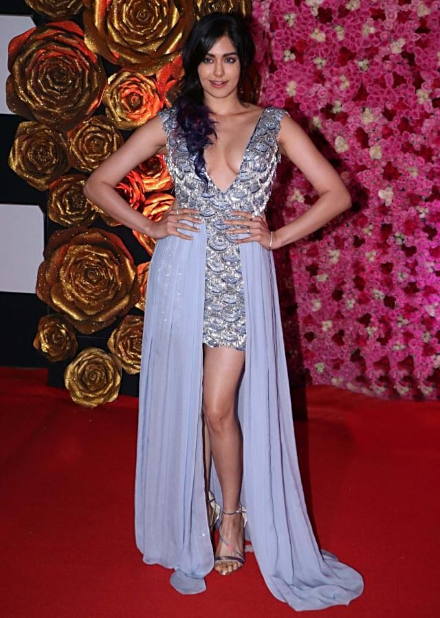 Adah Sharma in Kalki peri winkle blue short dress draped gown