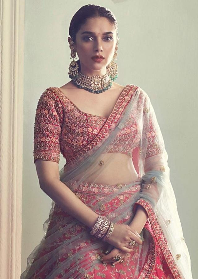 Aditi Rao Hydari In Kalki Crimson Red Lehenga in Raw Silk With Intricately Hand Embroidered Floral Pattern