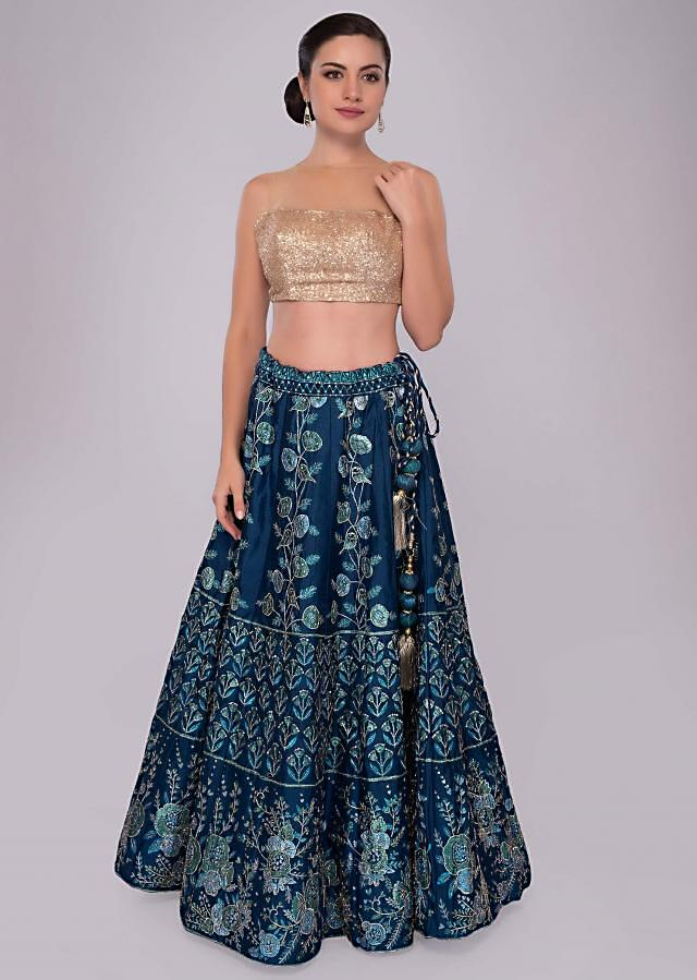 Admiral blue foil printed lehenga in bird and floral motif only on Kalki