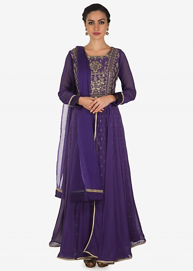 Admiral blue layer anarkali suit with embroidered bodice only on Kalki