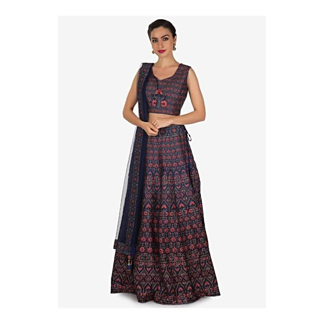 Admiral blue lehenga adorn in digital print and sequin work in floral motif only on Kalki