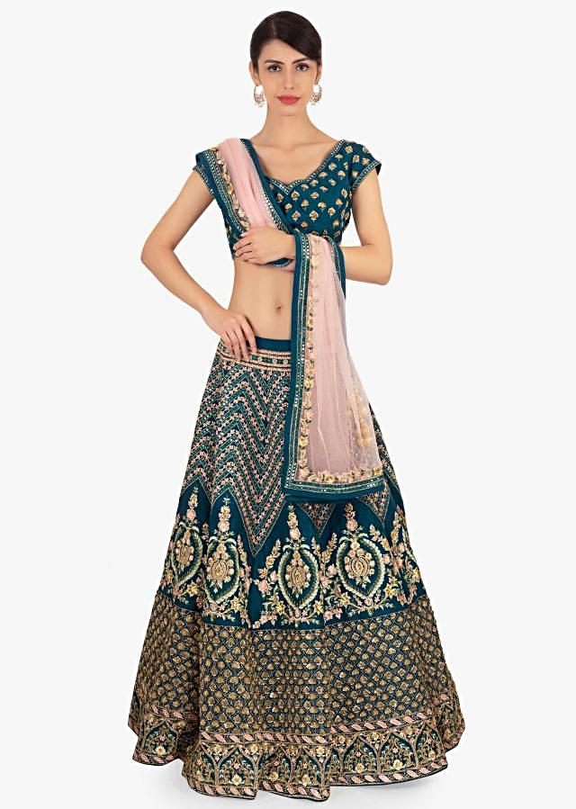 Admiral Blue Lehenga In Raw Silk With Geometric Motif Paired With Matching Blouse And Pink Net Dupatta Online - Kalki Fashion