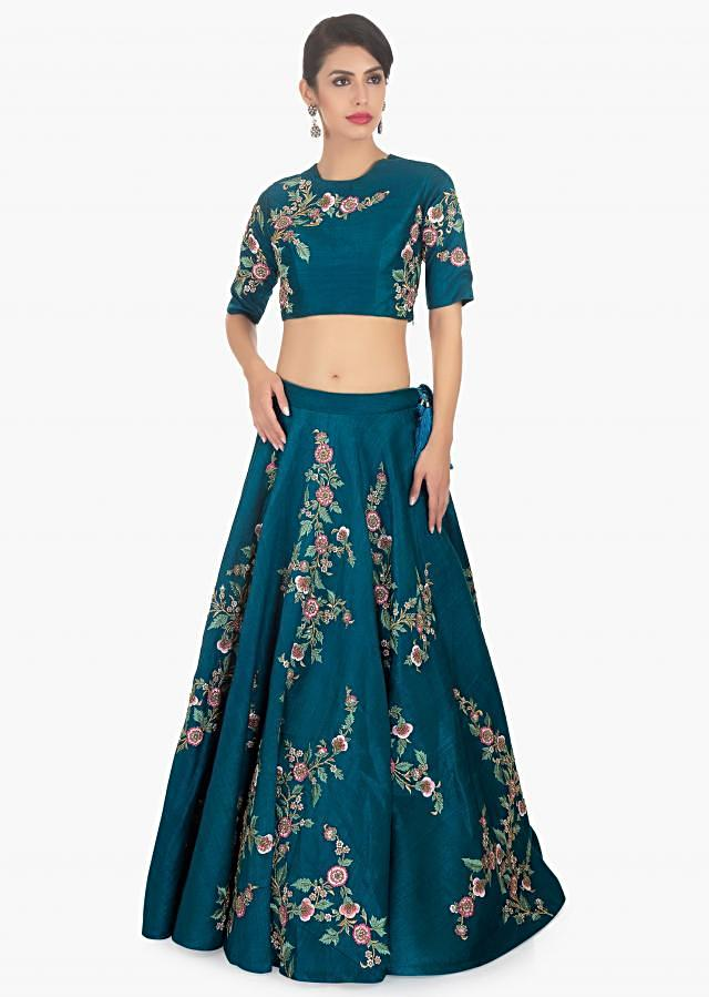 Rugveda Wagh in kalki admiral blue raw silk lehenga set paired with salt pink net dupatta