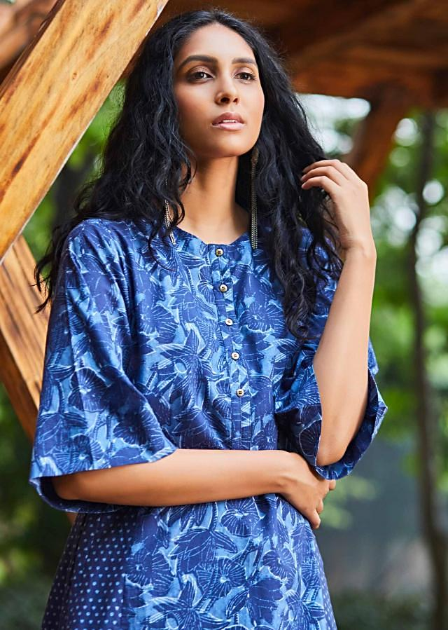 Aegean Blue Suit In Floral Printed Cotton With Matching Cotton Palazzo Pants In Printed Butti Online - Kalki Fashion