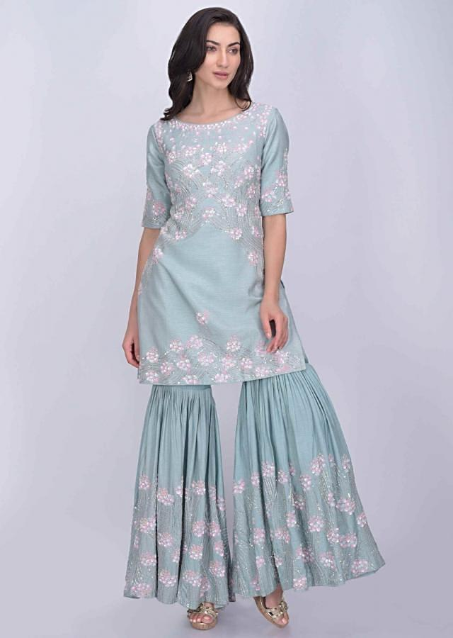 Airforce blue cotton silk sharara suit with matching net dupatta only on Kalki