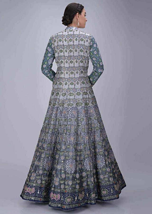 Airforce Blue Anarkali Suit In Cotton Silk With Ombre Effect Online - Kalki Fashion