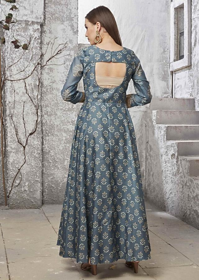 Airforce Blue Suit Set In Silk With Gold Silk Dupatta Online - Kalki Fashion