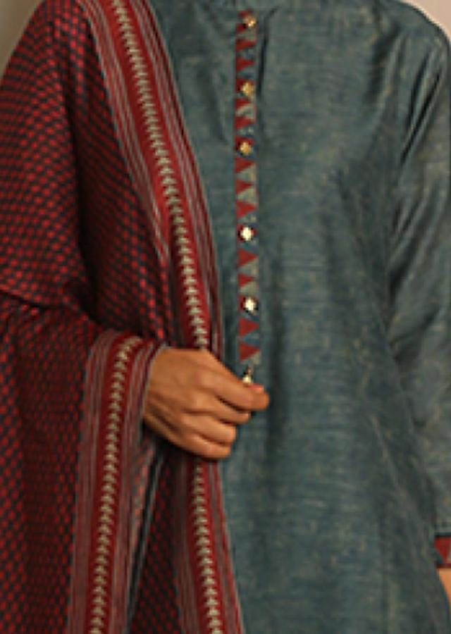 Airforce Blue Unstitched Suit With Red And Black Dupatta With Tribal Print Online - Kalki Fashion