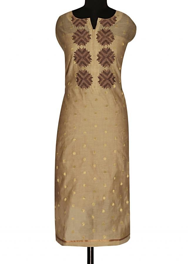 Almond cream unstitched suit with printed dupatta only on Kalki