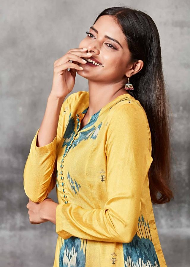Amber Yellow A Line Suit With Ikkat Print Online - Kalki Fashion