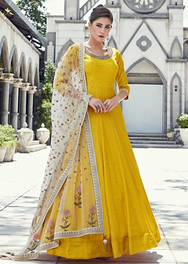 Amber Yellow Anarkali Suit In Silk With Embroidered Neckline Online - Kalki Fashion