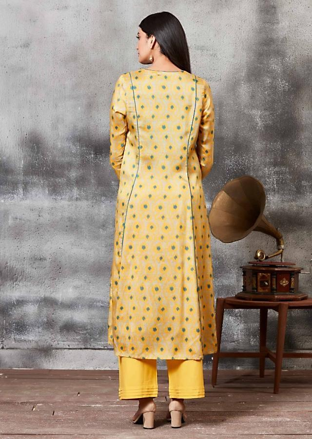 Amber Yellow Anarkali Suit With Thread Embroidery And Ethnic Print Online - Kalki Fashion