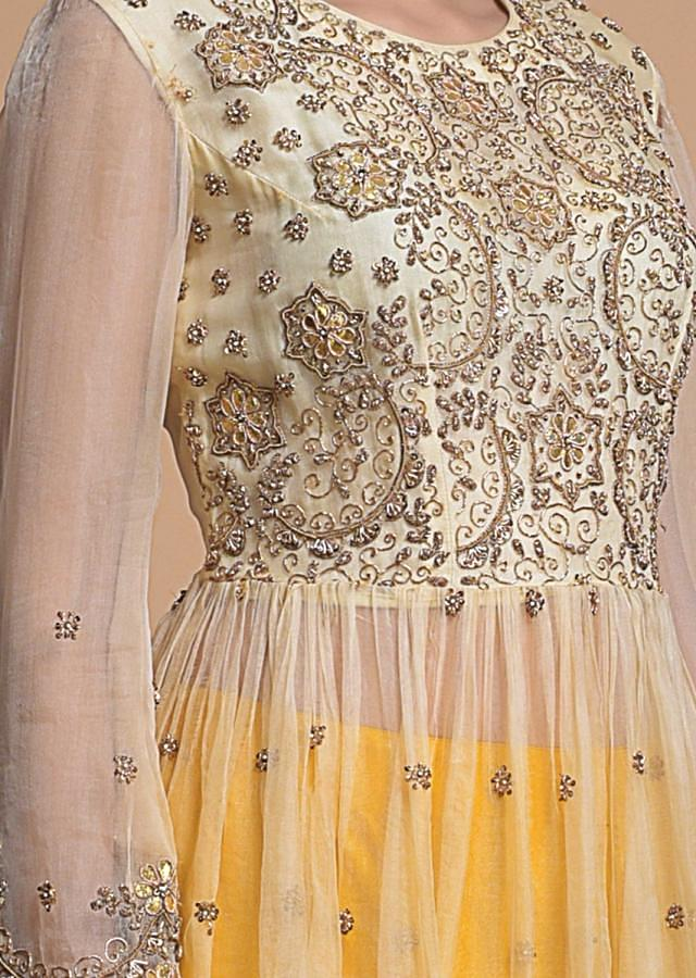 Amber Yellow Lehenga And Peplum Top With Gotta And Zardosi Work Online - Kalki Fashion