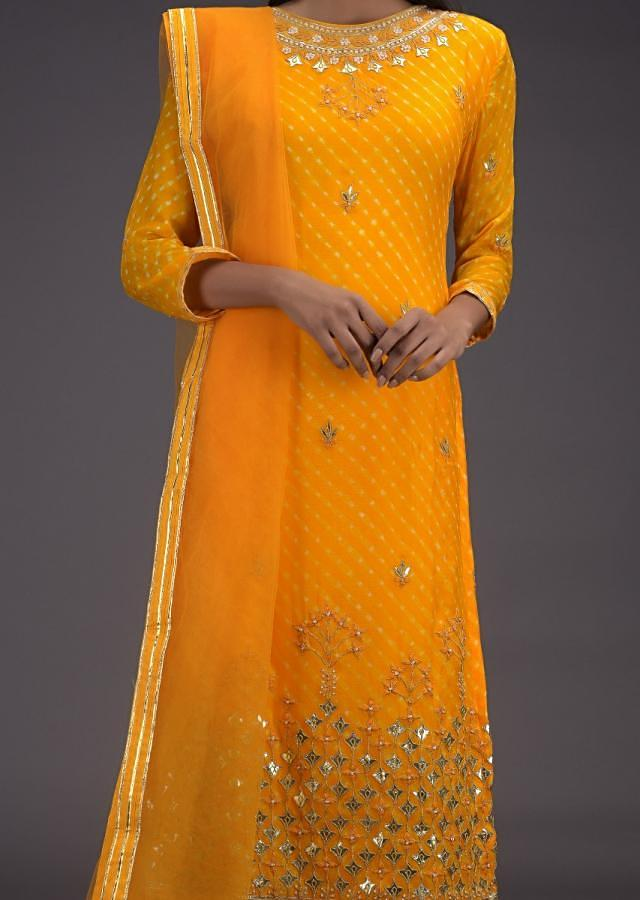 Amber Yellow Palazzo Suit With Lehariya Print And Gotta Work Buttis And Floral Pattern Online - Kalki Fashion