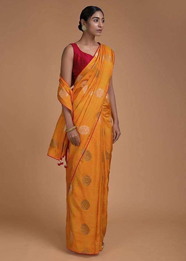 Amber Yellow Saree In Cotton Silk With Weaved Floral Pattern In Round Buttis Online - Kalki Fashion