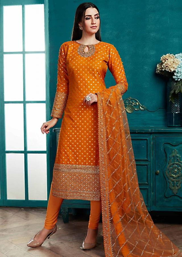 Amber Yellow Straight Cut Suit In Silk With Weaved Buttis And Embroidery Work Online - Kalki Fashion