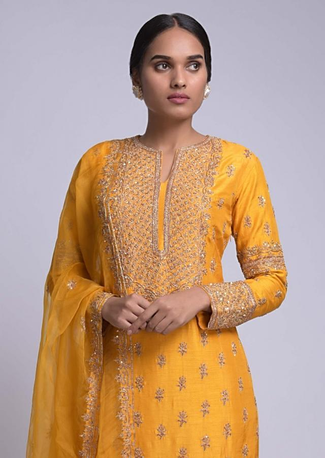 Amber Yellow Straight Cut Suit With Embroidered Placket And Buttis Online - Kalki Fashion