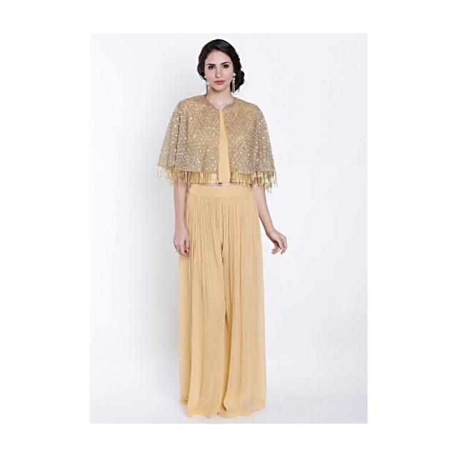 Amber yellow suit embellished in sequin embroidered cape only on Kalki
