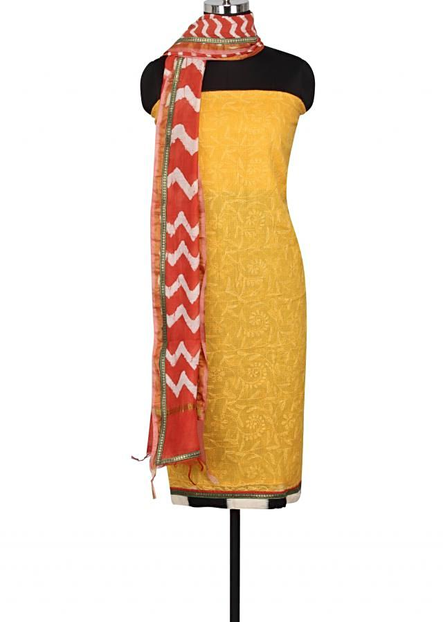 Amber yellow unstitched suit enhanced in thread embroidery only on Kalki