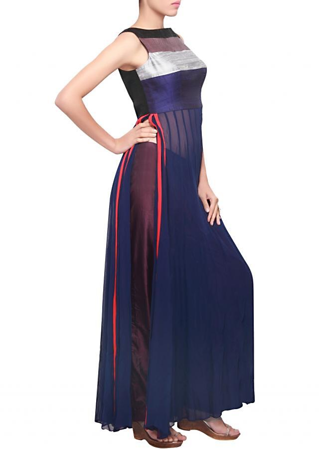 Anarkali suit featirng in navy blue with multicolor bodice only on Kalki
