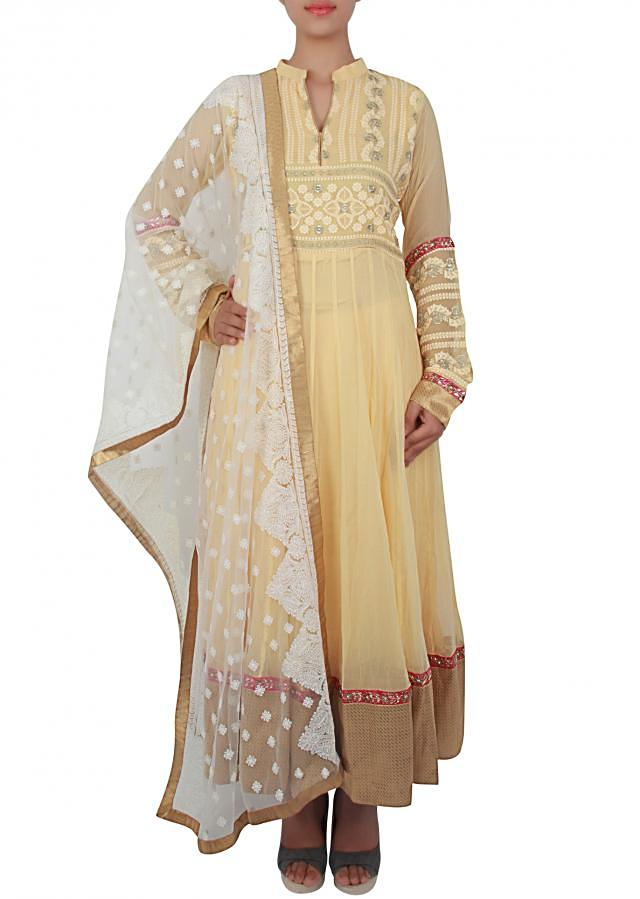 Anarkali Suit featuring in lime yellow embellished in thread work only on Kalki