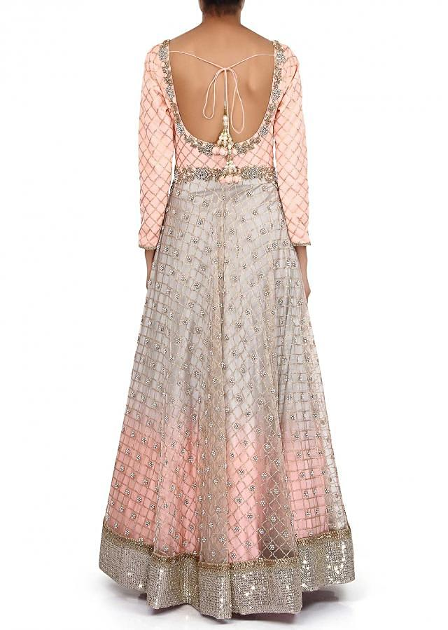 Anarkali suit featuring in peach adorn in sequin embroidery only on Kalki