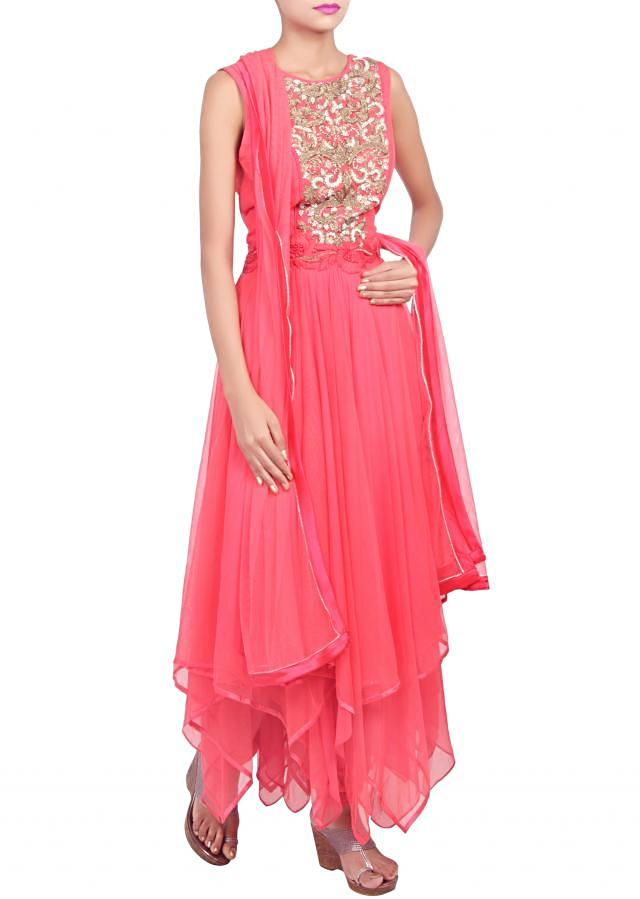 Anarkali suit featuring in rouger red embellished in zardosi and thread work only on Kalki