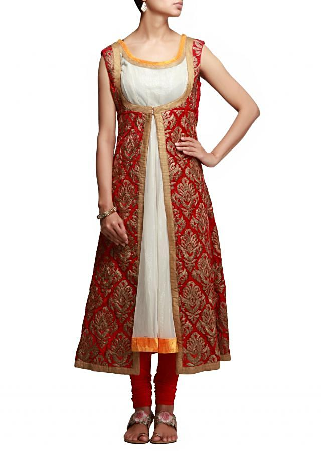 Anarkali suit in cream and pink with zari embroidery
