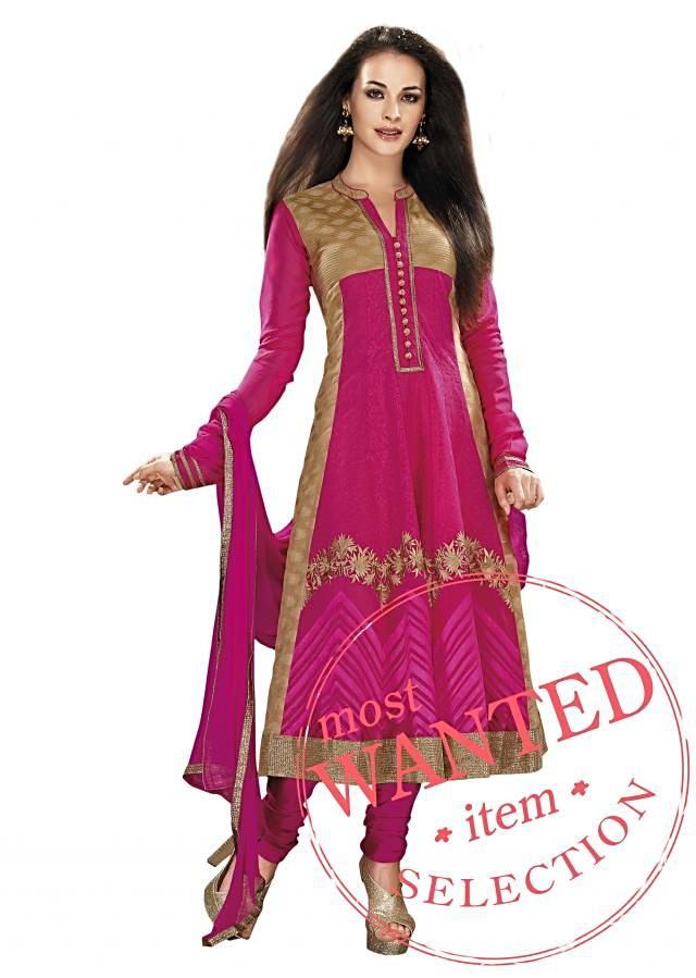 Anarkali suit in pink and beige with resham embroidery