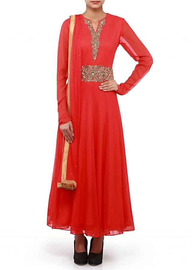 Anarkali suit adorn in zardosi and sequin embroidery. only on Kalki