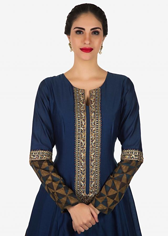 Anarkali suit in blue cotton silk with embroidered placket only on Kalki