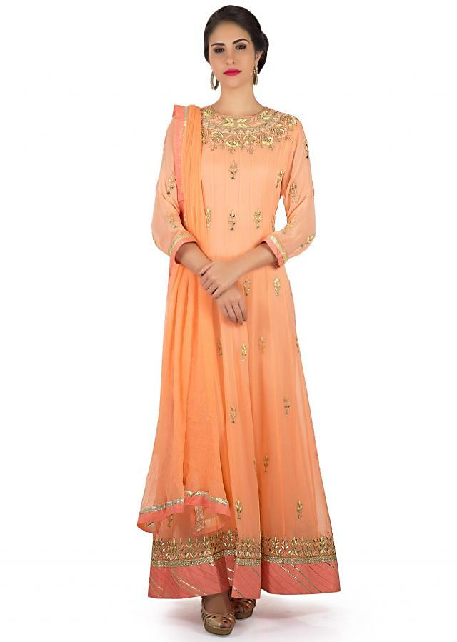 Anarkali suit in blush peach with resham and gotta patch work only on Kalki