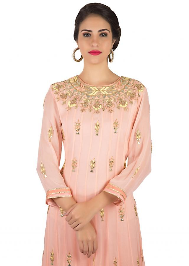 Anarkali suit in blush pink with resham and gotta patch work only on Kalki