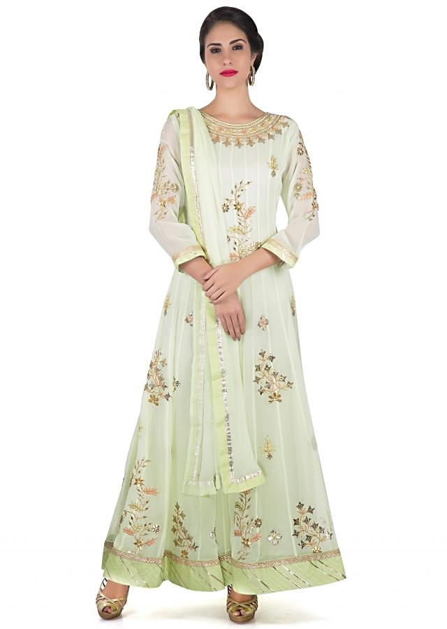 Anarkali suit in mint green with resham and gotta patch work only on Kalki