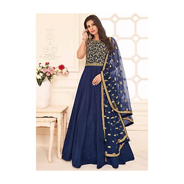 Anarkali suit in navy blue raw silk with zari and kundan embroidered bodice
