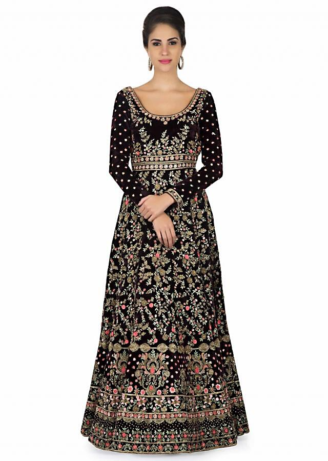 Anarkali suit in velvet adorn in delicate zardosi work only on Kalki