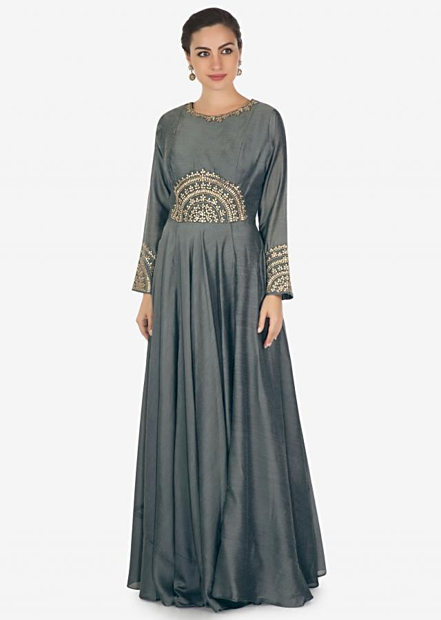 Anchor grey anarkali suit in silk with gotta patch and zardosi embroidery only on Kalki