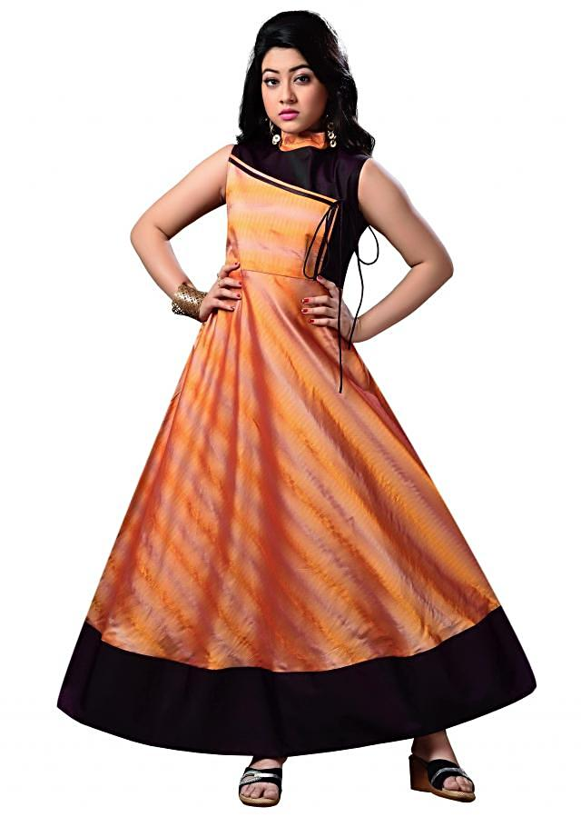 Angrakha Style Orange Indo Western Gown Made of Taffeta Silk