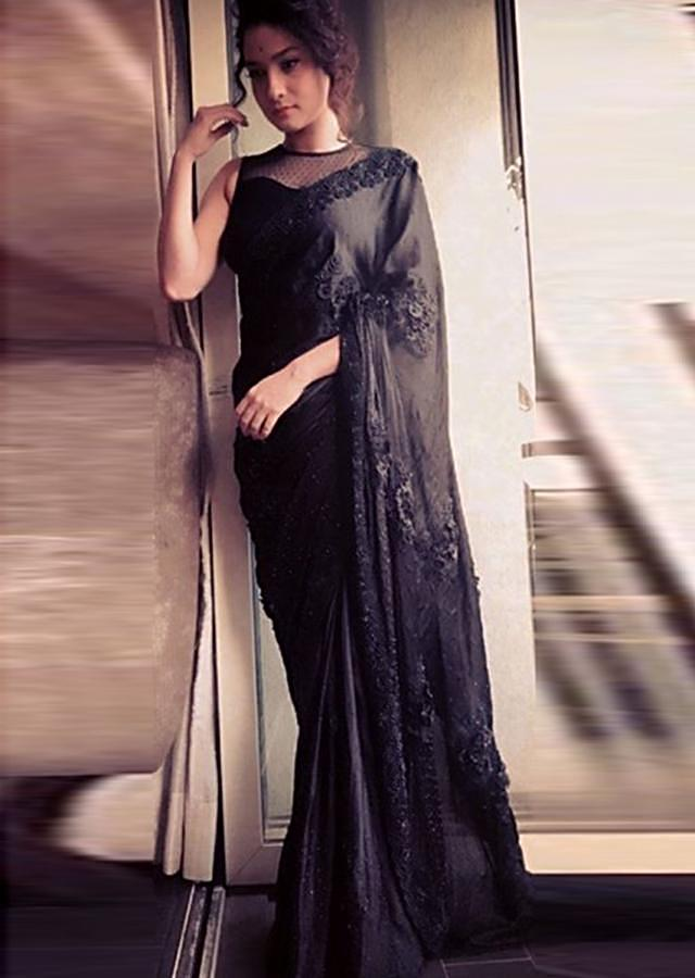 Ankita Lokhande in Kalki black saree with 3d flower and moti embroidered border